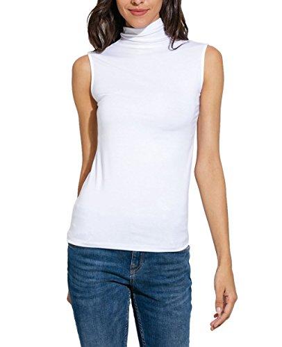 Sleeveless Mock Neck Pullover - Nasperee Women Sleeveless High Turtleneck/Mock Neck Pullover Slim Fit T Shirt Tank Top White