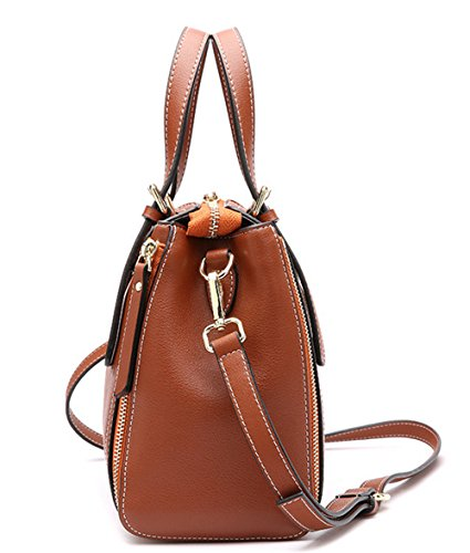 XinMaoYuan bolsos de cuero Bolsos de cuero Moto portátil hombro bolsa bandolera Color sólido dama bolsa Zipper de Ocio Brown