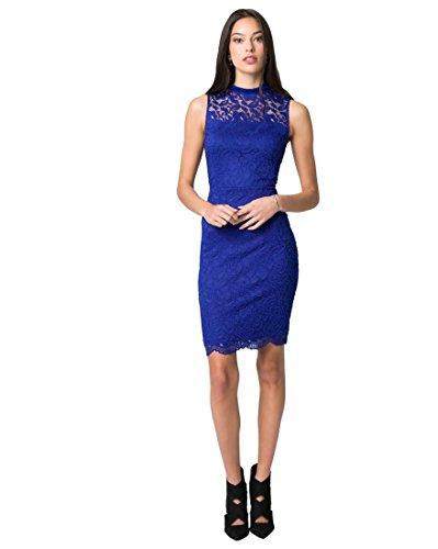 Solid Lace Mock Neck Cocktail Dress,L,Cobalt (Chateau Cocktail)