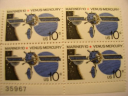 us-postage-stamps-1975-space-issue-mariner-venus-mercury-s-1557-plate-block-of-4-10-cent-stamps
