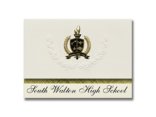 Signature Announcements South Walton High School (Santa Rosa Beach, FL) Graduation Announcements, Presidential style, Basic package of 25 with Gold & Black Metallic Foil seal