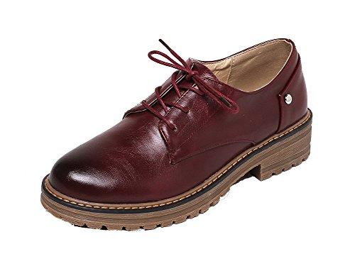 Odomolor Women's Microfibre Round Closed Toe Low-Heels Lace-up Pumps-Shoes Claret nAXqKR
