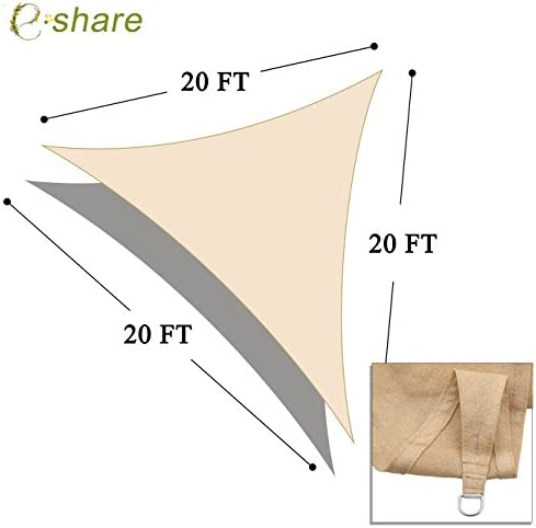 e.share 20 X 20 X 20 Sun Shade Sail Uv Top Outdoor Canopy Patio Lawn Triangle Beige Tan Desert Sand