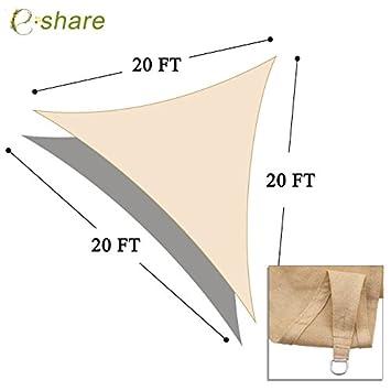 e.share 20 X 20 X 20 Sun Shade Sail Uv Top Outdoor Canopy Patio Lawn Triangle Beige Tan Desert Sand