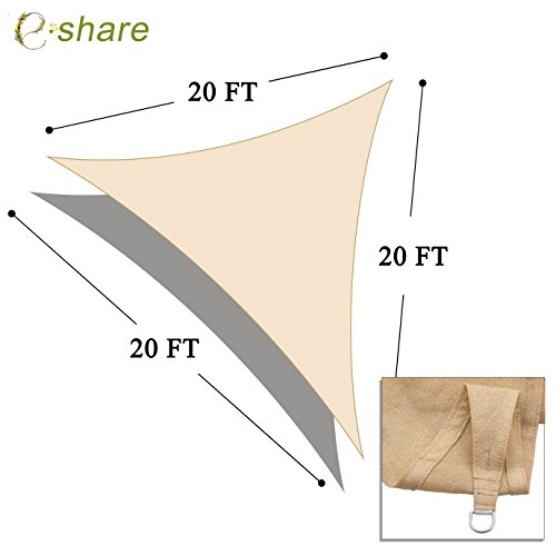 e.share 20' X 20' X 20' Sun Shade Sail Uv Top Outdoor Canopy Patio Lawn Triangle Beige Tan Desert Sand ... by e.share (Image #2)