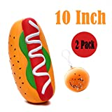Sinofun 2 Pack 10 Inch Hot Dog Giant Squishy Package, Jumbo Cream Scented Food Slow Rising Hamburger...