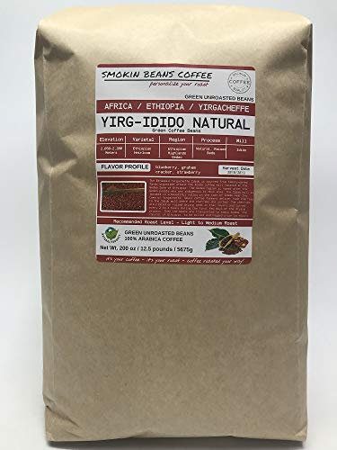 12.5 Pounds - African - Ethiopia Yirg-Idido Natural - Unroasted Arabica Green Coffee Beans - Ethiopian Heirloom - Drying Process Natural on Raised Beds - Mill Idido - Indigenous Family Owned Farms
