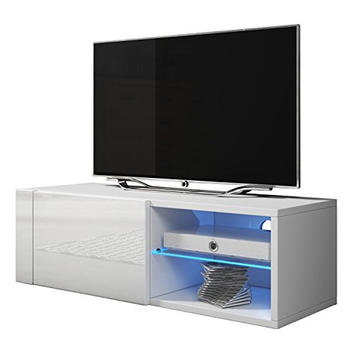 Meble Furniture & Rugs TV Stand Best Matte Body High Gloss Doors Modern TV Stand LED (white, 39