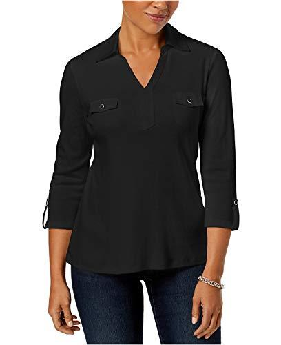 (Karen Scott Women's Cotton Johnny-Collar Shirt Deep Black)