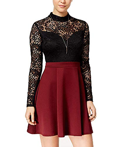 B Darlin Juniors' Lace Mock-Neck Fit & Flare Dress for sale  Delivered anywhere in USA