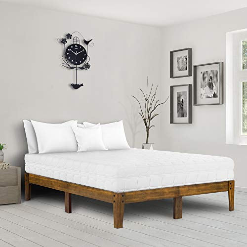 Ecos Living 14 Inch Solid Wood Platform Bed with Natural Finish (Light Brown, ()