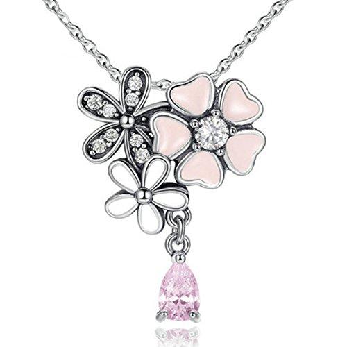 MESE London Collier Fleur De Cerisier Collier En Argent Sterling 925 Pendentif - Coffret Cadeau Élégant