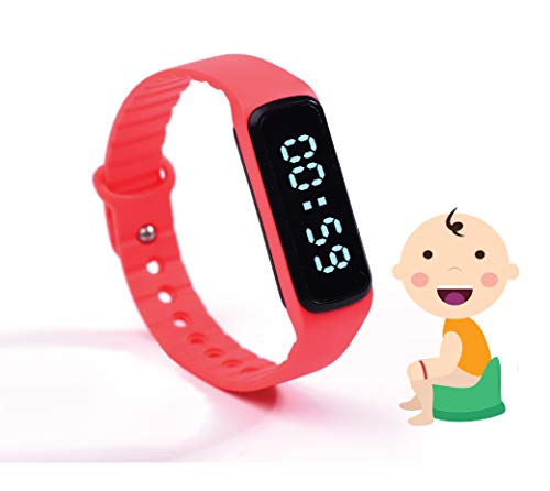 The Brand New Designed Potty Training Bracelet (RED) with Water Resistance Function and Small Sized Watchband - Made with 100% Non-Toxic, BPA/Latex Free Silicone Rubber