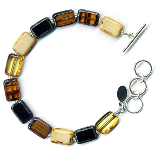(Beaded Bracelet in Earthy Mix, Colorful Glass Tiles, Sterling Silver Adjustable Length Toggle Clasp, One Size Fits Most)