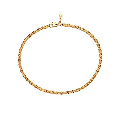 Discount Yellow Gold Plated 3mm Scroll Anklet or Ankle Bracelet Chain free shipping
