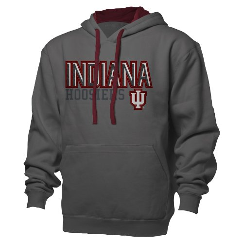 NCAA Indiana Hoosiers Benchmark Colorblock Pullover Hood, Large, Graphite/Garnet