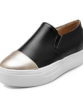 ZQ Zapatos de mujer-Tacón Plano-Punta Redonda-Oxfords-Casual-PU-Negro / Marrón / Rojo / Blanco , white-us5.5 / eu36 / uk3.5 / cn35 , white-us5.5 / eu36 / uk3.5 / cn35