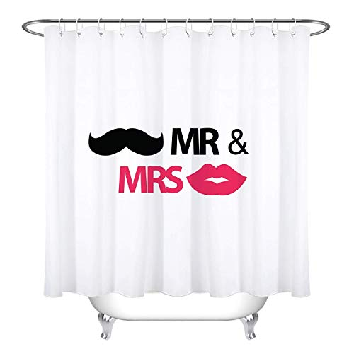 GETTOGET Newly Married Wedding Room Mr Mrs Mustache Lips White Bride Groom Shower Curtain Bathroom Sets Hooks,Waterproof Polyester Curtain ()
