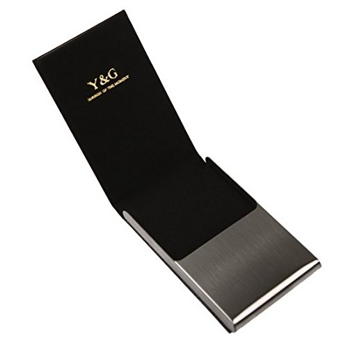 01. YDC06 Best Card Holder Black Leather Card Case Gifts For Designer By Y&G