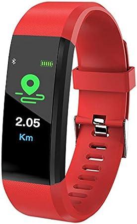 QXbecky Nuevo Monitor de frecuencia cardíaca para Hombres y Mujeres Monitor de presión Arterial rastreador de EjerciciosRelojInteligente Pulsera Inteligente Deportiva paraiOSAndroidRojo