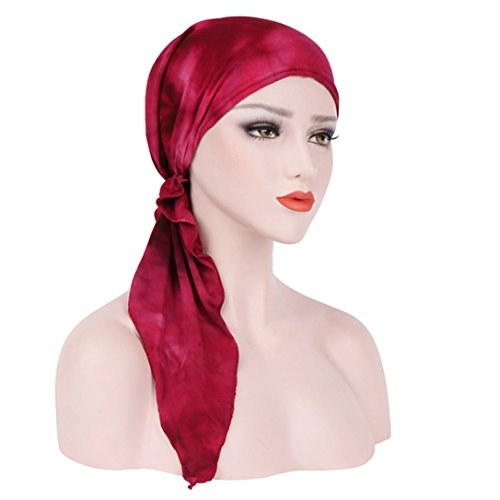 Women's Chemo Cap Turban Headwear Scarves for Hair Loss Muranba (Red) ()