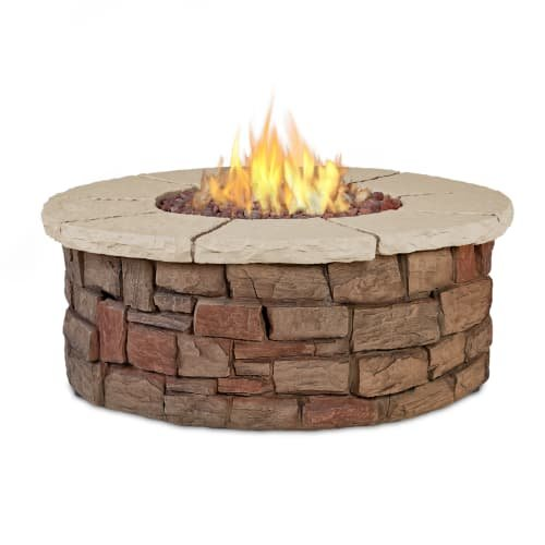 Real Flame C11810LP-BF Sedona Round Propane/Natural Gas Fire Table, Buff (Benches Log Sale For)