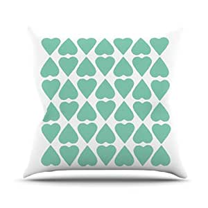"""Kess InHouse Project M """"Mint Diamond Hearts"""" Outdoor Throw Pillow, 26 by 26-Inch"""