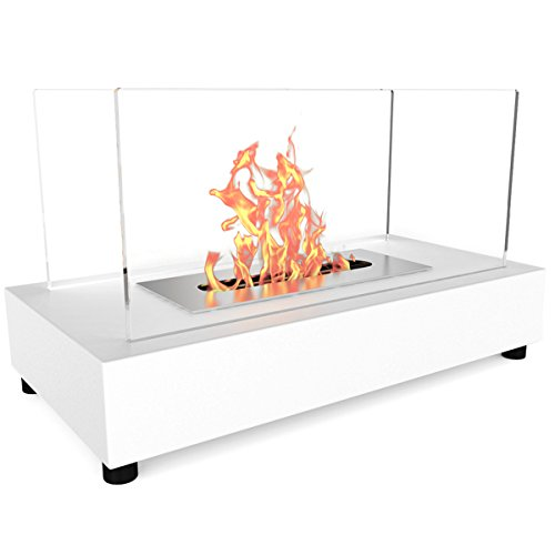 Regal Flame Avon Ventless Indoor Outdoor Fire Pit Tabletop Portable Fire Bowl Pot Bio Ethanol Fireplace in White - Realistic Clean Burning like Gel Fireplaces, or Propane Firepits