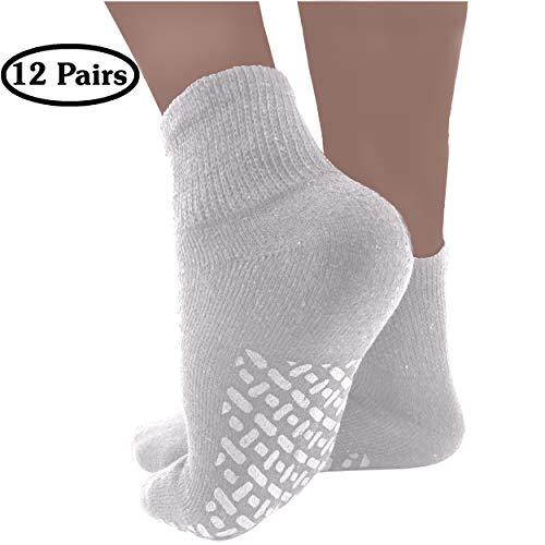 (Diabetic Socks Mens Non-slip Grip Cotton 12-Pack Ankle White By DEBRA WEITZNER)