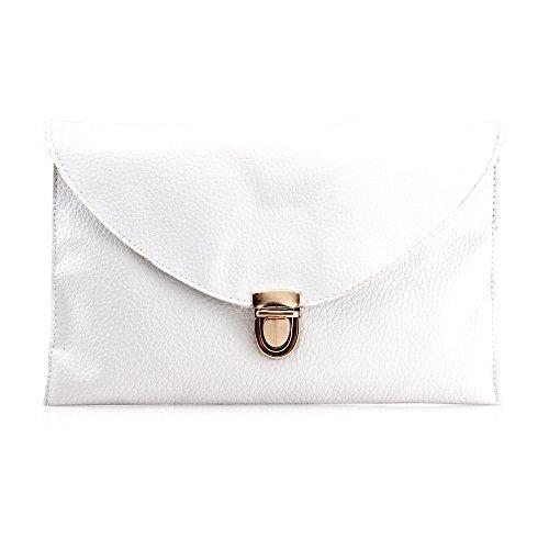 GEARONIC TM Fashion Designer Women Handbag Tote Bag PU Leather Shoulder Ladies Girls Purse Teens for Beach Travel Work Evening Day School White