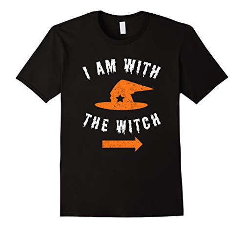 Mens I Am With The Witch Halloween T-Shirt For Husband Boyfriend 2XL Black