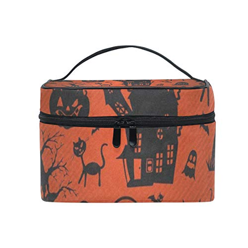 Travel Cosmetic Bag Halloween Cats And Pumpkin Toiletry Makeup Bags Pouch Tote Case Organizer Storage For Women Girls]()