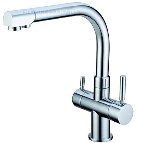 Robinet 3voies pour épurateur eau couleur chromé Filtri Acqua Italia
