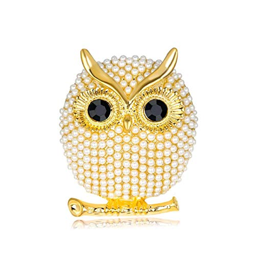 EAN Elegant Crystal Owl Brooch Pins Vintage Pearl Owl Animal Pins Jewelry for Women