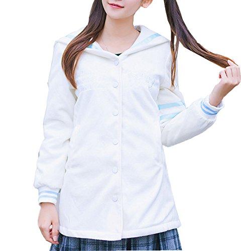 [Plaid&Plain Women's Varsity Sailor Collar Button Down Baseball Uniform Jacket White Free Size] (Sailor Outfits For Ladies)