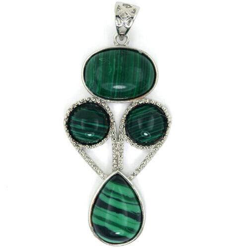 (50mm Green Synthetic Malachite Silver Plated Oval Coin Teardrop Pendant Bead)