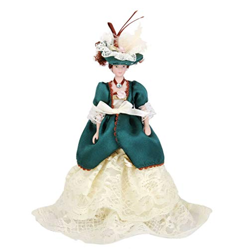 (NATFUR Porcelain Dolls Victorian Lady in Green Gown 1:12 Scale Dollhouse Miniature)