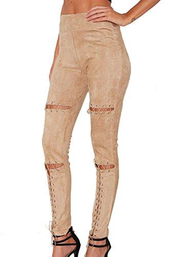 Casual de la mujer atado a elásticos ajustados pantalones completos apricot