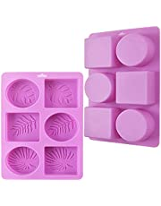 ionEgg Rectangle and Oval Silicone Soap Mold with Leaf Patterns, Pack of 2