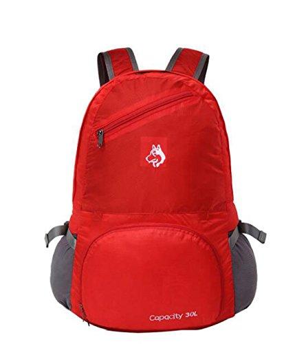30L Multifunktional Faltbar Rucksack Reisen Im Freien Wasserdicht Reise Tasche,Red