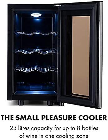 Klarstein Reserva Slim Uno nevera para vinos, 23 litros / 8 botellas, temperatura: 11-18 °C, ruido: 26 dB, 3 baldas, luces LED, protección UV, nevera, negro