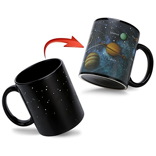 Solar System - Heat Color Changing Mugs, Sensitive Ceremic Tea Cup, Funny Tea Cup Novelty Gifts for Friends, Men, Father, Mom, Sisters 12 Oz -