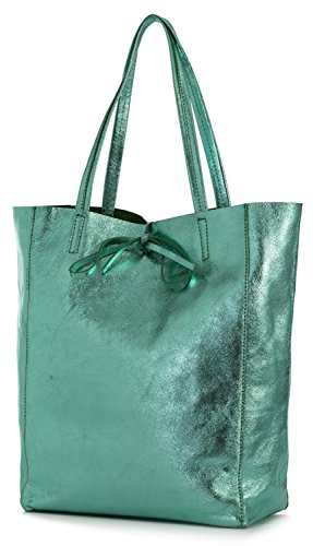 (LIATALIA Genuine Italian Soft Leather Leightweight Large Hobo Tote Shopper Shoulder Handbag - ASTRID [Metallic Turquoise])