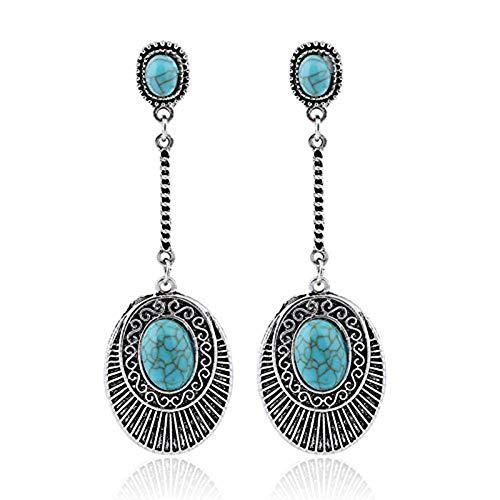 - Kanggest Vintage Bohemian Pendant Earrings Cabochon Beaded Chandelier Handmade Stud Earrings for Ladies Women Girls