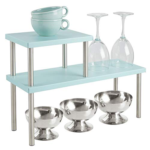 mDesign Modern Metal 3-Tier Kitchen Countertop and Pantry Cabinet Storage Shelf Organizer Stand for Storing Mugs, Bowls, Spices, Baking Supplies - Free Standing, 2 Shelves - Mint Green/Brushed (The Over Sink Bathroom Organizer)