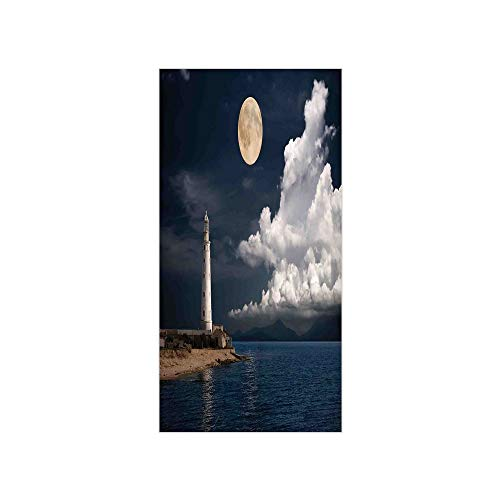 3D Decorative Film Privacy Window Film No Glue,Lighthouse Decor,Lighthouse at Moonlight Island Isle Large Clouds Sea Seaside Waterfront Night Time Bay,Multi,for Home&Office ()