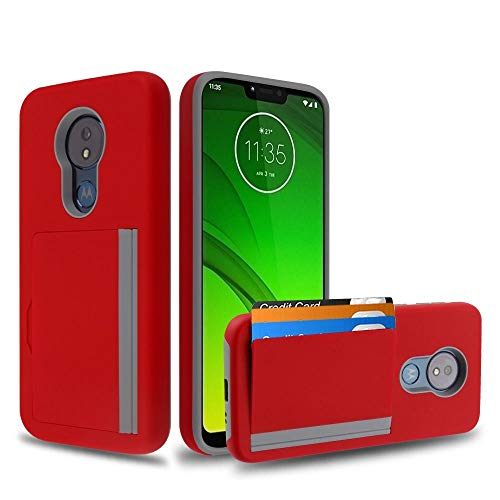 Bemz Pocket Series Compatible with Moto G7 Optimo Maxx (XT1955DL) Slim Wallet Dual Layer Hybrid Case with 3 Card Holder Hidden Storage Compartment and Atom Cloth - Red/Gray from Bemz Depot