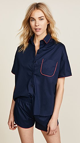 Maison du Soir Women's Jackson PJ Top, Navy, Medium by Maison Du Soir (Image #2)