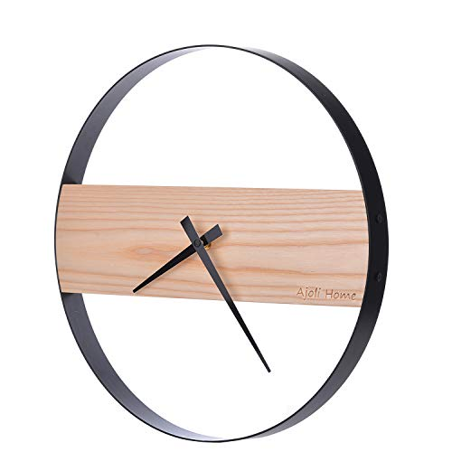 AjoliHome Wood Wall Clock,Modern Round Non-Ticking Clock Battery Operated,for Home/Office/Kitchen/Living Room(14in) (Wall Wood Round)