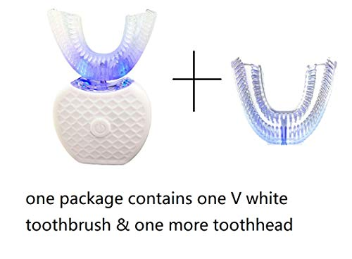 Electric Auto Toothbrush Rechargeable Ultra Sonic Smart Toothbrush V-WHITE 360° Automatic Toothbrush U Type Heads Oral Cleaner With One More U Type Toothbrush Head -